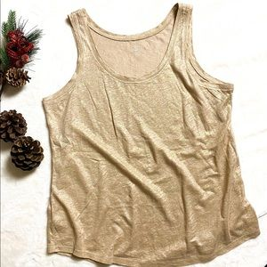 Ann Taylor LOFT Gold Shine Tank Top Petite Large